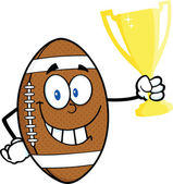American Football Ball Cartoon Character Holding Golden Trophy Cup — Stock Photo