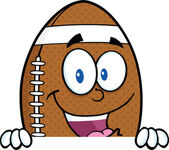 American Football Ball Cartoon Character Over Blank Sign — 图库照片