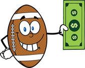 Smiling American Football Ball Character Showing A Dollar Bill — Stockfoto
