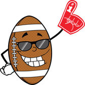 American Football Ball With Sunglasses Holding A Foam Finger — Stock Photo