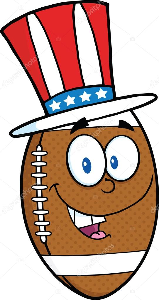 Personnage de dessin anim de ballon de football am ricain avec chapeau patriotique - Dessin football americain ...