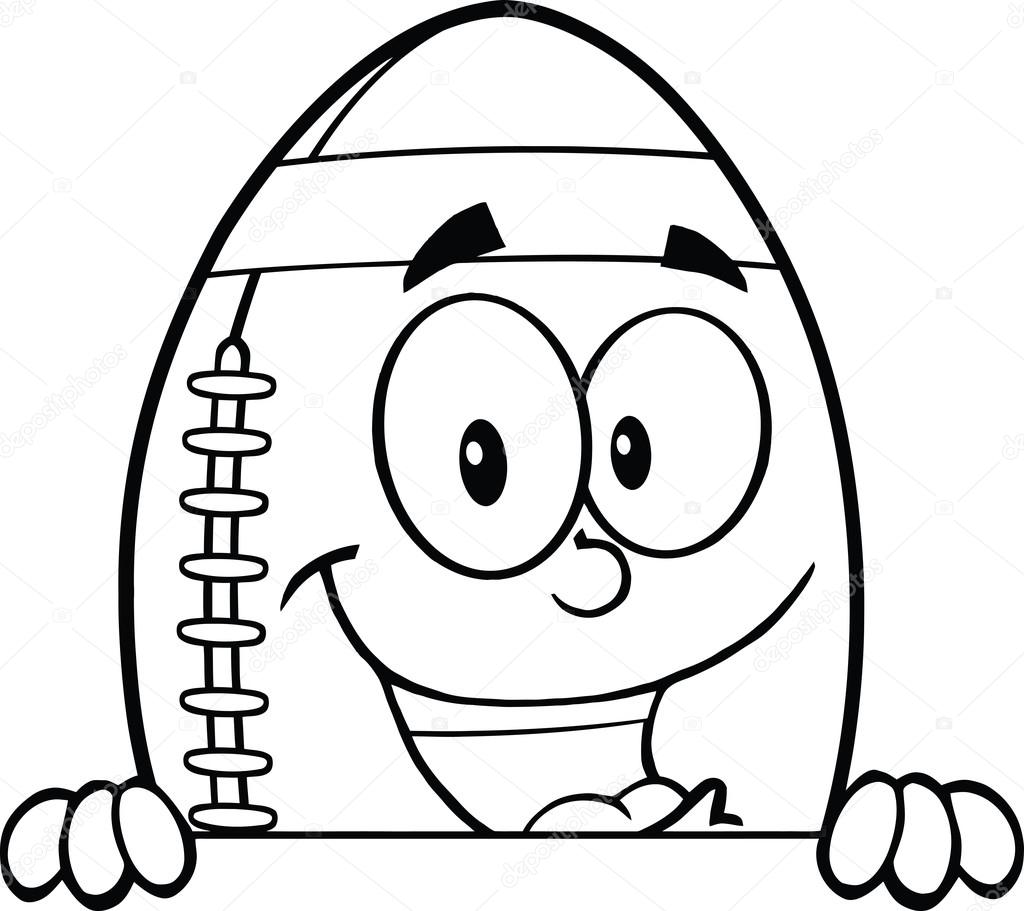 ... and white american football ball cartoon mascot character over blank