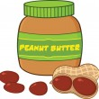 Peanut Butter Jar With Peanuts — Stock Photo