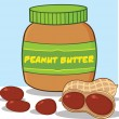 Cartoon Peanut Butter Jar With Peanuts — Stock Photo #31266607