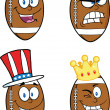 American Football Balls Cartoon Characters. Collection Set 6 — Stock Photo