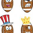 American Football Balls Cartoon Characters. Collection Set 6 — Stock Photo #31267129