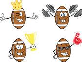 американского футбола мячи персонажей мультфильма. 2 набора сбора — Стоковое фото