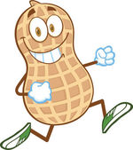 Smiling Peanut Cartoon Character Running — Stockfoto