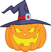 Evil Halloween Pumpkin With A Witch Hat — Stock Photo