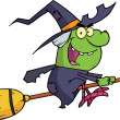 Witch Ride A Broomstick — Stock Photo