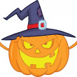 Scaring Halloween Pumpkin With A Witch Hat — Stock Photo