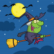 Witch Ride A Broomstick In The Night — Stock Photo