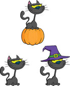 Halloween Cat Cartoon Characters Collection Set — Stock Photo