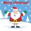 Merry Christmas Greeting With Santa Claus With Open Arms — Stock Photo #31926091
