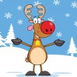Rudolph Reindeer With Open Arms For Hugging — Stock Photo #31934539