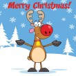 Merry Christmas Greeting With Rudolph Reindeer — Stock Photo #31935383