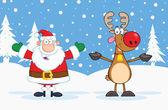 Santa Claus And Reindeer Cartoon Characters — Stock Photo