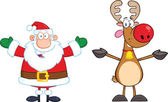 Happy Santa Claus And Reindeer — Stock Photo