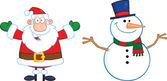 Happy Santa Claus And Snowman — Stock Photo