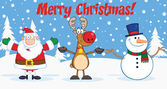 Merry Christmas Greeting With Santa Claus,Reindeer And Snowman — Stock Photo