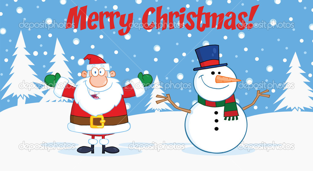 Merry Christmas Greeting With Santa Claus And Snowman