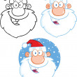 Santa Claus Heads Cartoon Character  Collection Set — Stock Photo