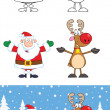 Santa Claus And Reindeer Cartoon Characters 1  Collection Set — Stock Photo