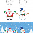 Santa Claus And Snowman Cartoon Characters  Collection Set — Stock Photo