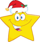 Smiling Star Cartoon Character With Santa Hat — Stock Photo