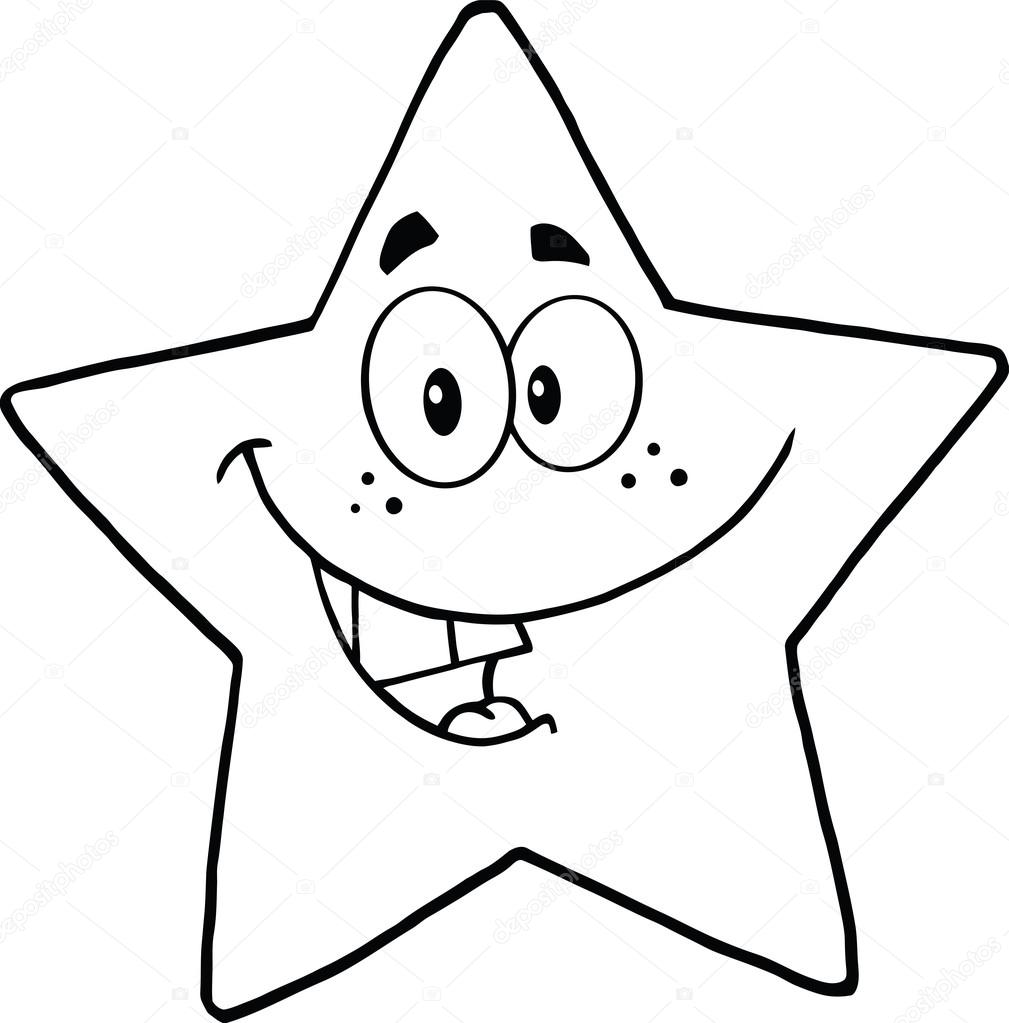 Cartoon Characters Black And White : Black and white smiling star cartoon character stock