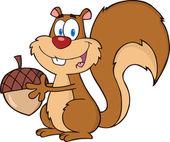 Roztomilá veverka kreslená postava drží žalud — Stock fotografie