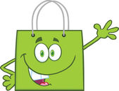 Smiling Green Shopping Bag Cartoon Character Waving For Greeting — Stock Photo