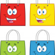 Stock Photo: Shopping Bag Stars Cartoon Characters. Collection Set