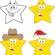 Stars Cartoon Characters. Collection Set — 图库照片