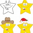 Stars Cartoon Characters. Collection Set — Stockfoto