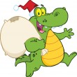 Stock Photo: Crocodile SantCartoon Mascot Character Running With Bag