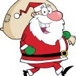 Santa Claus Running With Bag — Stock Photo