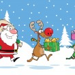 Reindeer, Elf  And Santa Claus Carrying Christmas Presents In Christmas Background — Stock Photo