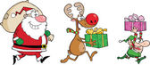 Reindeer, Elf And Santa Claus Carrying Christmas Presents — Stock Photo
