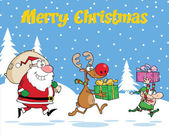 Merry Christmas Greeting With Reindeer, Elf And Santa Claus Carrying Christmas Presents — Stock Photo