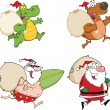 Four Santa Cartoon Characters  Collection Set — Stock Photo