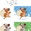 Santa Bears Running With Bag And Waving  Collection Set — ストック写真