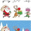 Reindeer, Elf  And Santa Claus Carrying Christmas Presents  Collection Set — Stock Photo
