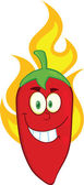 Smiling Red Chili Pepper Cartoon Character On Fire — Stock Photo