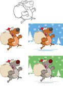 Santa Bears Running With Bag And Waving Collection Set — Zdjęcie stockowe