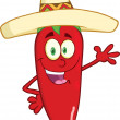 Smiling Red Chili Pepper Character With Mexican Hat Waving For Greeting — Stock Photo