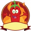 Red Chili Pepper Cartoon Mascot Label — Stock Photo #33278807