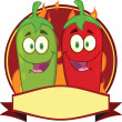 MexicChili Peppers Cartoon Mascot Label — Stock Photo #33278813