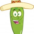 Smiling Green Chili Pepper Cartoon Character With Mexican Hat — Stock Photo