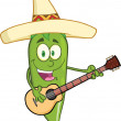 Green Chili Pepper Character With Mexican Hat Playing A Guitar — Stock Photo